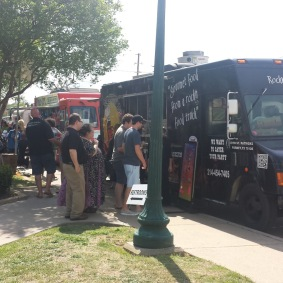 A line forms for the food trucks